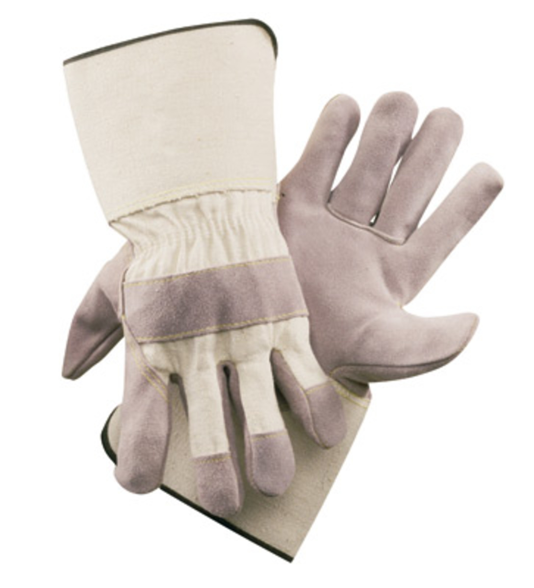 Gauntlet cuff leather work gloves - Radnor Large Side Split Leather Palm Gloves With Gauntlet Cuff Duck Canvas Back And